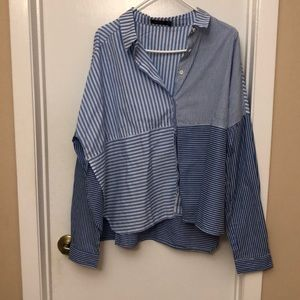 Never Worn Blue and White Boxy Button Down